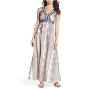Thml linen blend embroidered maxi dress